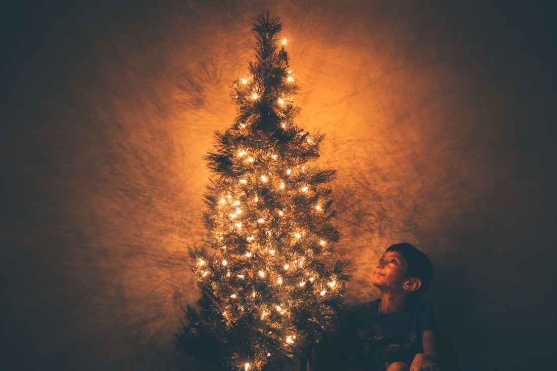 boy beside christmas tree illustration