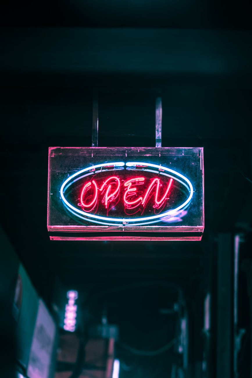 open neon signage turned on