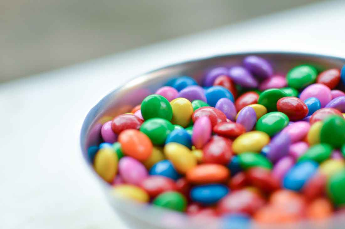 close up view colorful candy chocolate